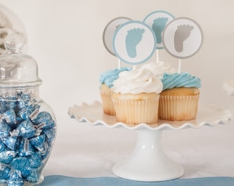 Footprint Cupcake Toppers - Set of 12 - Boy Baby Shower Decorations,  Baby Shower Cupcake Toppers, Light Blue and Gray