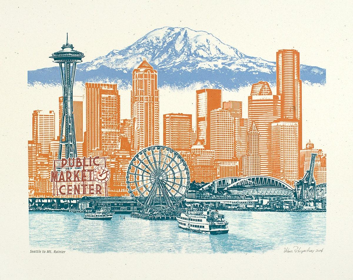 Seattle Art Print Wall Art Washington Art Collage