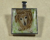 Dachshund Square Pendant/Charm - may be personalized