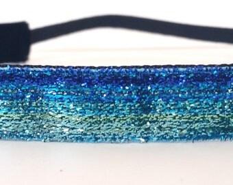 Glitter Headband - Blue Ombre Headband - Sparkle Headband - Non Slip Headband - No Slip Headband - Running Headband - Dance Headband - Gift