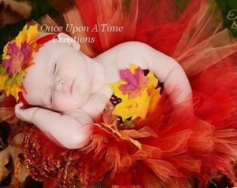 Ready To Ship - Autumn Fairy Tutu Dress - Infant Baby Girl Photo Prop, Dress Up Halloween Costume - Girls Size Newborn 3 6 9 12 18 24 Months
