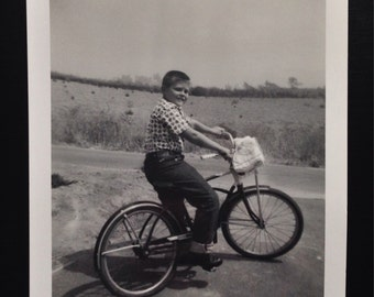 Original Antique Photograph Mark Riding His Bicycle