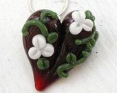 Rose Heart Glass Pendant, Red Heart White Flowers Necklace, Hand Blown Lampwork Jewelry  Boro SRA