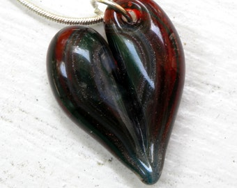 Glass Heart  Boro Bead, Flamework Jewelry Necklace, Lampwork Hand Blown SRA Sparkling Red Blue Teal