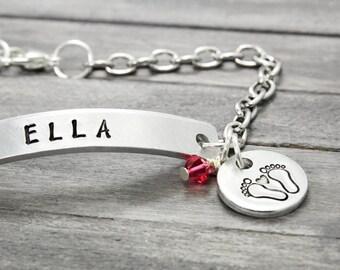 New Mother Bracelet, Charm Bracelet, Baby Birth Bracelet, Custom Bracelet, Personalized Jewelry, New Mommy Bracelet, Handstamped Jewelry,