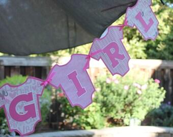 It's A Girl Pink Onesie Baby Shower Banner Gender Reveal Bunting Garland
