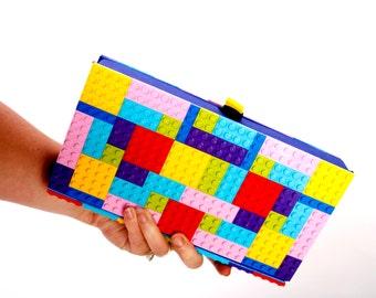 LEGO Clutch- Colorful-  Purse made from LEGO bricks