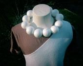Upcycled Steampunk Clothing - Wilma Flintstone Dress - White Polar Fleece Dress and Styrofoam Ball Necklace