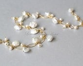 Pearl Cluster Bracelet, Gold-filled Chain, Freshwater Pearls, White Head Drilled Keshi Pearls, White Potato Pearls. Bridal, Bridesmaid. B025