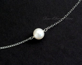 Pearl Choker Necklace, Dainty Necklace, Swarovski Crystal White Round Pearl, Sterling Silver Chain. Bridal, Bridesmaid. Gift for Her. N121.