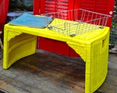 Wicker Lap Desk, Bed Tray with Legs, Yellow Wicker Desk, Computer Desk, Breakfast Tray, Serving Tray with Legs, Boho Chic Colorful Artsy