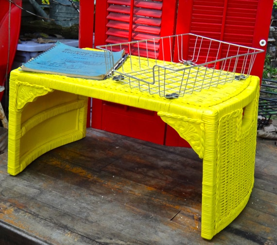 Wicker Lap Desk Bed Tray With Legs Yellow Wicker Desk