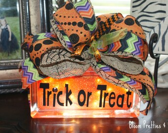 Trick or Treat Happy Halloween Decor Glass Lighted Block