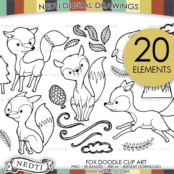 Cute Fox Hand Drawn Clip Art Wild Animal Doodle Clipart