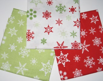 "3 Piece Fat Quarter Set of Riley Blake Designs ""Holiday Snowflakes"". 100% cotton"