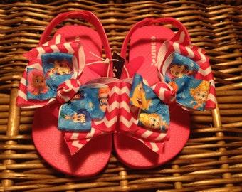 Bubble Guppies Hot Pink Chevron Flip Flops Toddler