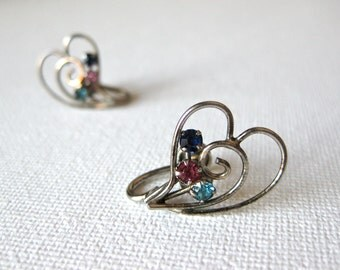 Heart Earrings with Blue, Pink and Navy Rhinestones Screw Back Gold Filled Mid Century Jewellery Fashion Gift