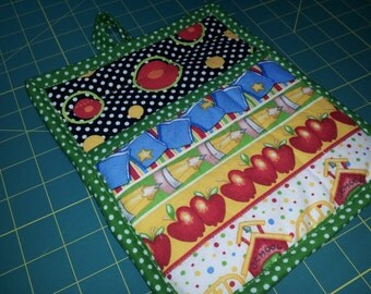 8 X 9 Pot Holder or Hot Pad in Black, White, Green Polka Dots, School Theme, ABC, Circles, Oven Mitt, Insulated, Quilted, Big Pocket