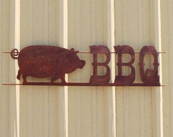 FREE SHIPPING Rusted Rustic Metal BBQ with Pigs Sign
