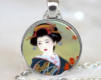 Japanese Geisha Pendant, Japanese Geisha Necklace, Japanese Geisha Jewelry, Silver (PD0156)