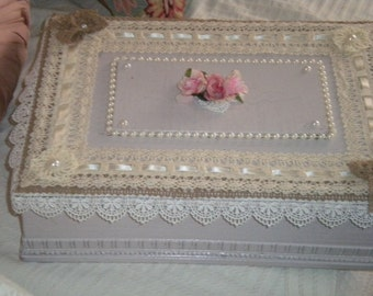 Sale,,,,,,SPECTACULAR OOAK Up cycled Art Deco Box, Shabby Chic,Romantic,Card BOX, Glove Box, French Country, Cottage Chic, Victorian