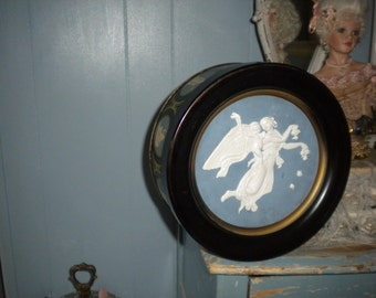 Beautiful Flying Angel and Cherub Vintage Tin, Victorian, Eclectic, Storage, French, Art Nouveau, French