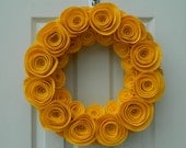 Fall Gold Wreath -  - Bright Yellow Gold Wreath made from Felt Flowers with Pearls in the Center