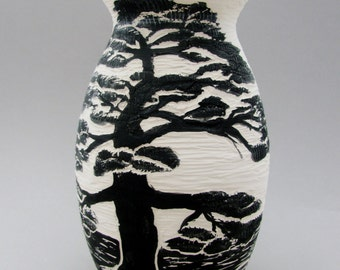 Asian Landscape Series: Black and White Hand Painted and Carved Ceramic Vase, Bonsai Tree and Landscape Design, Functional Art Pottery