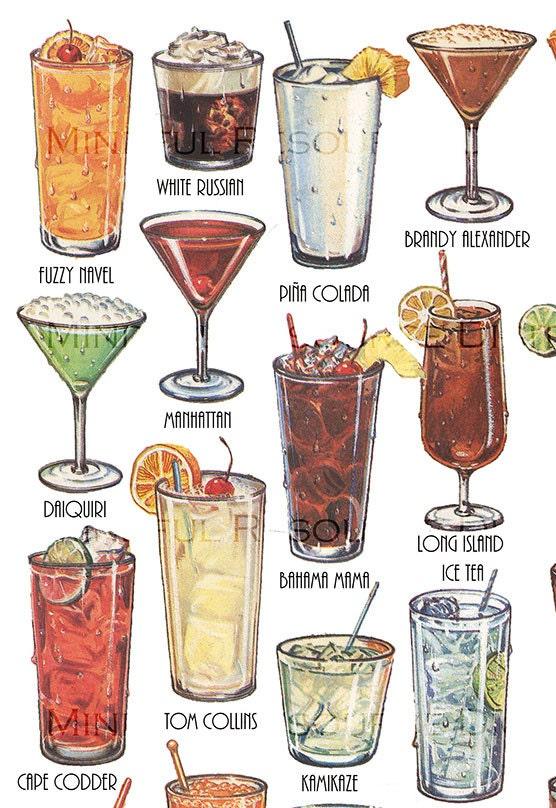 Cocktails Retro Art Drinks Vintage Printable Illustration