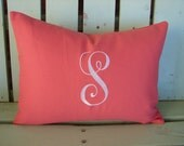 Monogram 12x16 lumbar coral gray pillow cover-nursery pillow-college gift-accent pillow- decorative pillow cover-gifts under 40-throw pillow