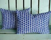 """Set of 2 lumbar 12"""" X 16"""" blue,natural polka dot Waverly outdoor indoor fabric- decorative pillow cover-throw pillow-accent pillow"""