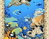 Animal under water sea ocean coral reef panel - cotton - fabric - BT Panel - wild - new - blue - turtle - quilt - sew