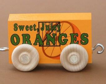 Wood Toy Train Orange Car