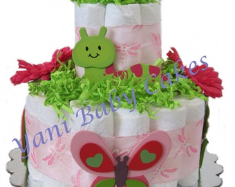 Baby Diaper Cake Sunny Garden Diaper Cake 2 Tier/ Unique Baby Shower Centerpiece Baby Shower Gift and New Baby Gift