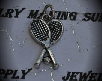 Tennis Sterling Silver Plated Charm
