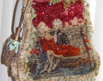 Edwardian Beaded Shoulder Purse Steampunk Tapestry
