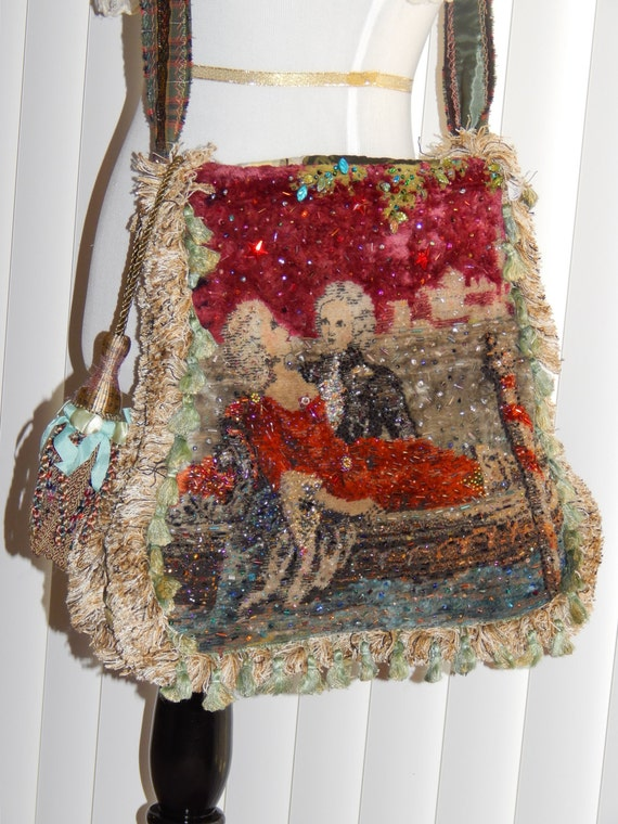 Edwardian Beaded Shoulder Purse Steampunk Tapestry