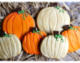 Decorated Pumpkin, Autumn, Fall Shortbread Cookie Favors, Orange, Copper, Brown, White, Green