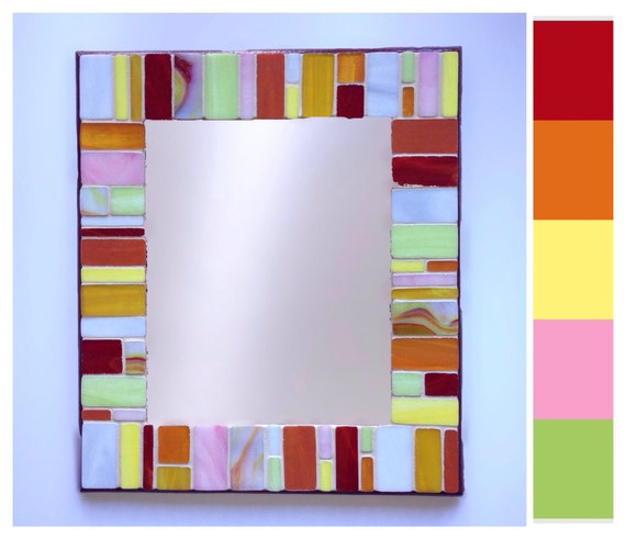 Stained Glass Mosaic Mirror - ' Caribbean Colour""