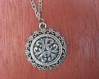Pewter Button Necklace from Norway Tele Frame