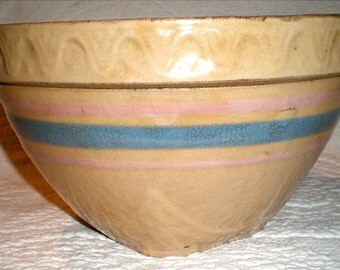 Large McCoy Stoneware Mixing Bowl With Blue and Pink Stripes