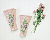 Pink Wall Vases, Wall Pockets, shabby cottage chic pretty storage pair of vintage wall pockets with floral motif