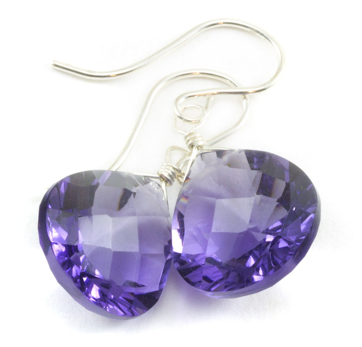 Simulated Tanzanite: Lavender Simulated Tanzanite Earrings Faceted Drop Soft Purple