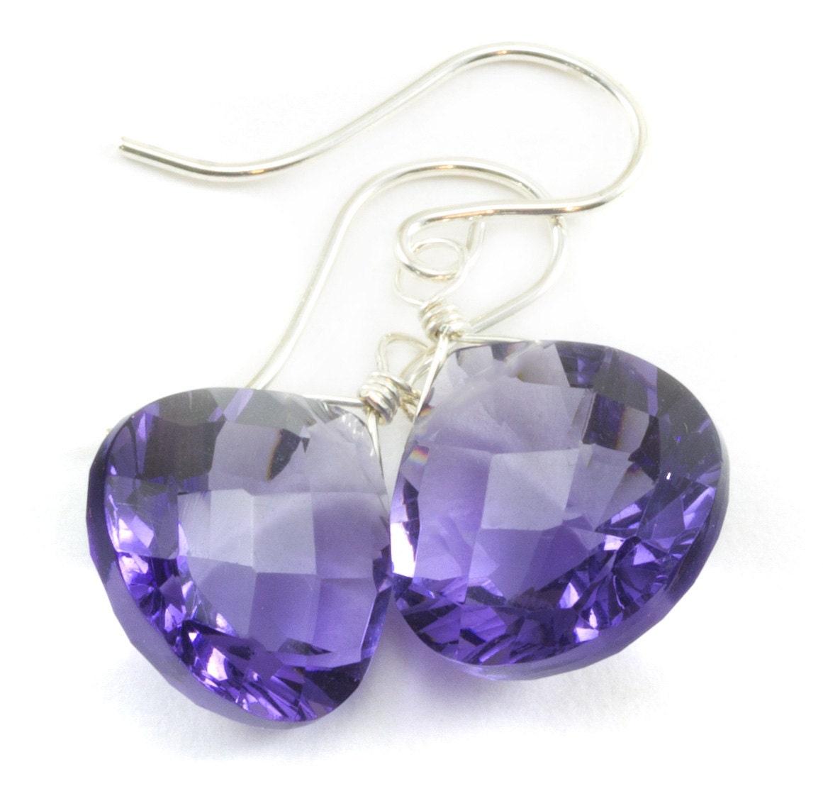 Lavender Tanzanite: Lavender Simulated Tanzanite Earrings Faceted Drop Soft Purple