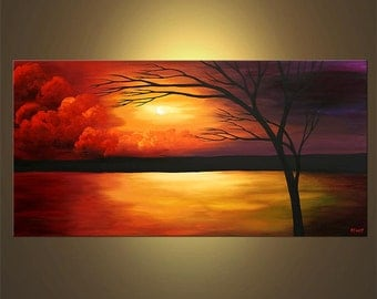 """Modern Landscape Abstract Red, Purple, Green, Orange Original Acrylic Tree Painting by Osnat - MADE-TO-ORDER - 48""""x24"""""""