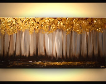"Original Tree Painting 48"" Abstract Contemporary Gold Blooming Tree Painting Heavy Palette Knife by Osnat - MADE-TO-ORDER"