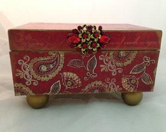 Red Paisley Decorative Box