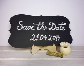 Large Wedding Chalkboard with Stand Scroll Wooden Chalk Board Wedding Sign Photo Prop Menu Table Centerpiece Save the Date Pics Prop