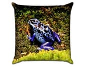 """Blue Frog - Original Photo Sofa Throw Pillow Envelope Cover for 18"""" inserts"""