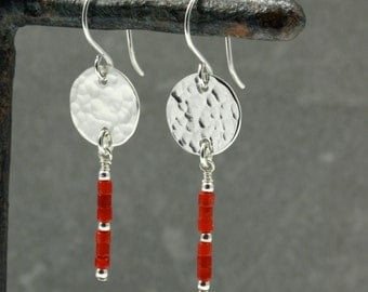 Red Coral Earrings with Hammered Silver Discs, Hammered Silver Earrings, Southwestern Earrings, Southwestern Jewelry